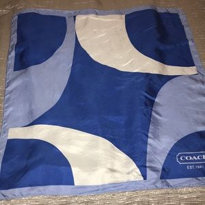Coach blue silk scarf 17 by 26 inches